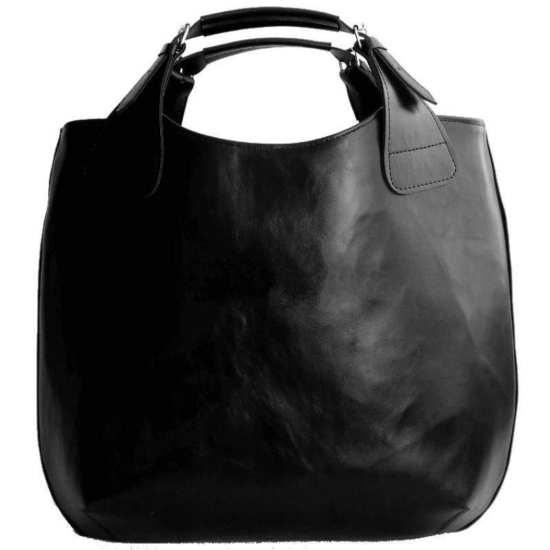 77a53b59dbd70 S2 SHOPER™ A4 damska torba na ramię, skóra naturalna - czarna